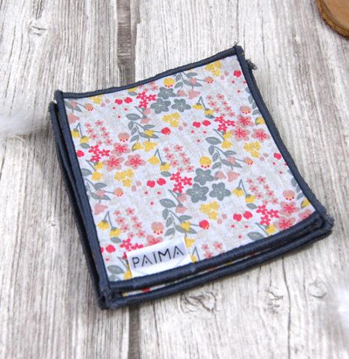 Lingettes démaquillantes lavables en tissu Flowers